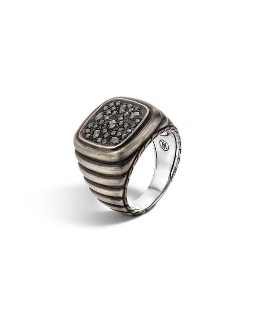 John Hardy - Metallic Men's Bedeg Linear Square Black Sapphire Ring Size 10 for Men - Lyst