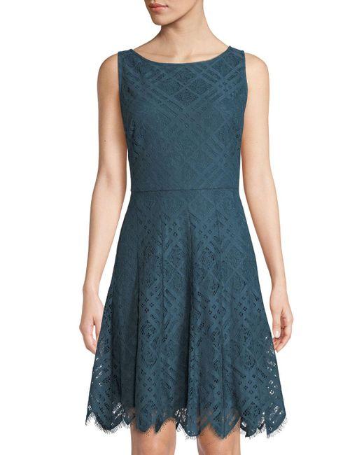 Donna Karan - Blue Lattice-lace Scalloped Fit & Flare Dress - Lyst