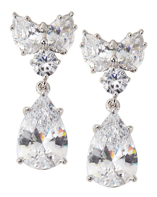 Fantasia by Deserio | White Cluster-top Pear-drop Cz Earrings | Lyst