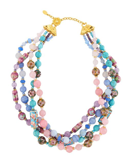 Jose & Maria Barrera - Blue Mixed Pastel Twist Necklace - Lyst
