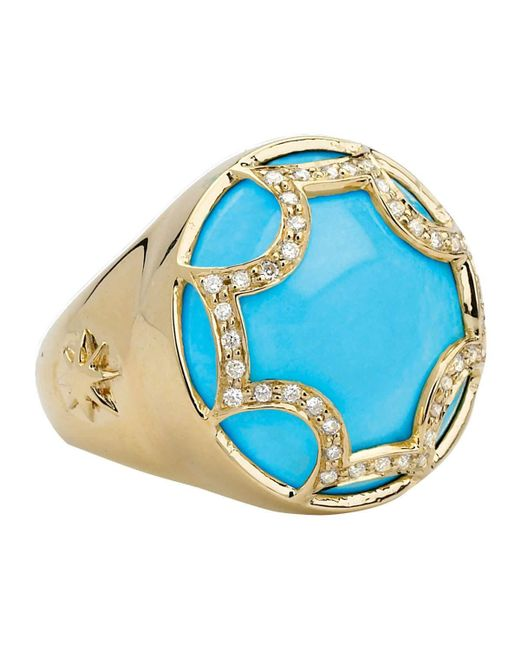 Elizabeth Showers   Blue Maltese Diamond Turquoise Ring   Lyst