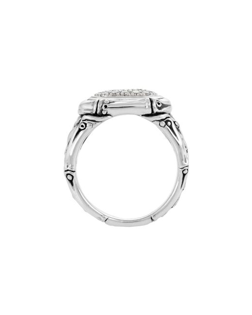 John Hardy | Metallic Bamboo Diamond Oval Pave Ring | Lyst
