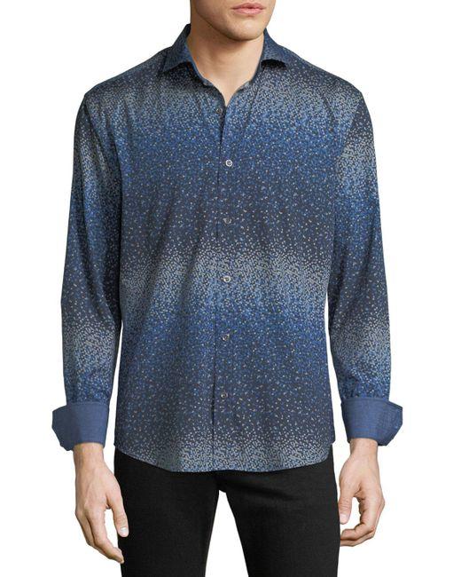 Bugatchi - Blue Men's Shaped-fit Geometric Woven Sport Shirt for Men - Lyst