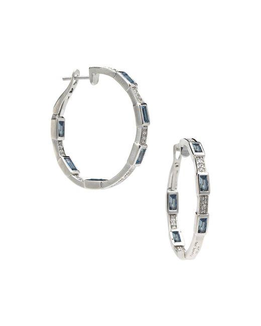 Elizabeth Showers | Metallic London Blue Topaz Deco Hoop Earrings | Lyst