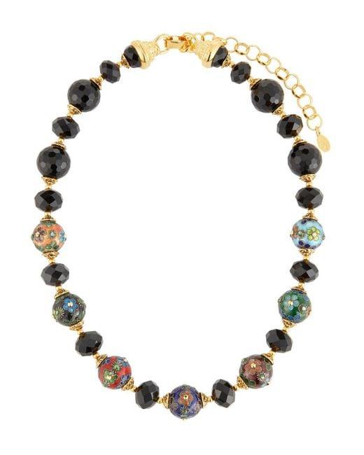 Jose & Maria Barrera   Cloisonne & Jet Black Beaded Necklace   Lyst