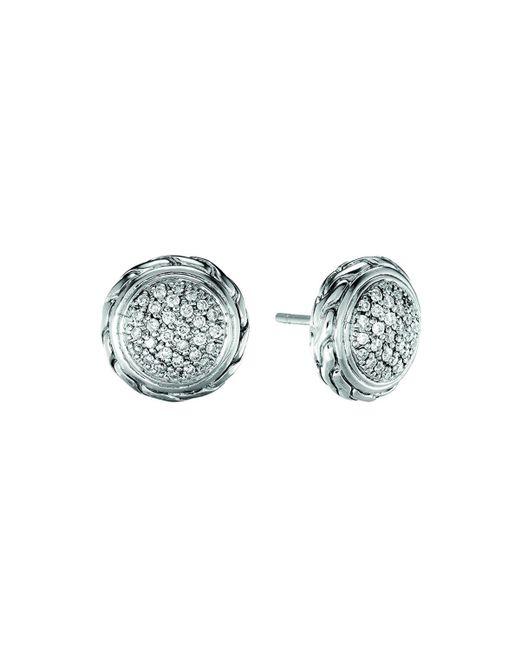 John Hardy | Metallic Silver Stud Earrings With Diamonds | Lyst