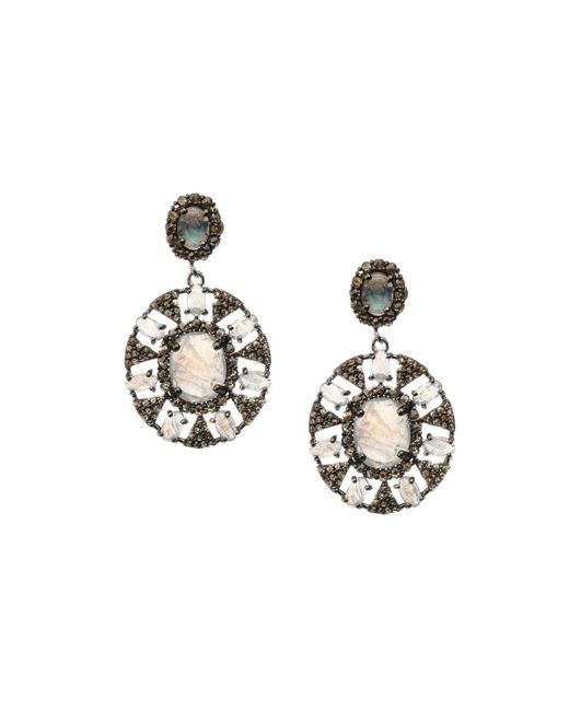 Bavna - Metallic Silver Drop Earrings With Diamonds & Rainbow Moonstone - Lyst