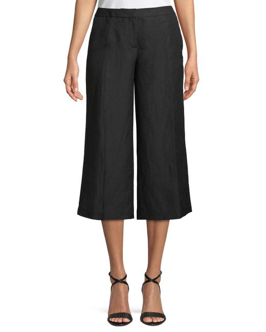 Karl Lagerfeld - Black Cropped Wide-leg Pants - Lyst