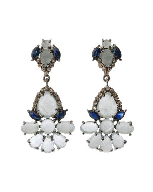 Bavna - Metallic Silver Drop Earrings With Champagne Diamonds - Lyst