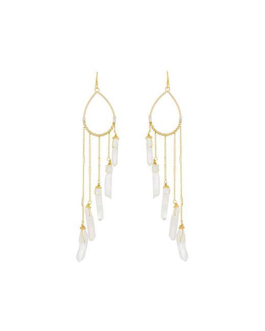 Nakamol | Metallic Teardrop Earrings W/ Quartz Dangle Fringe | Lyst