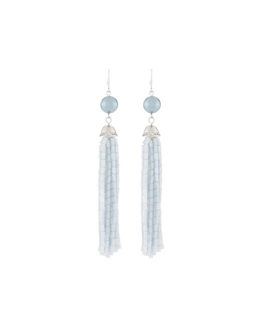 Lydell NYC - Metallic Light Blue Tassel Bead Drop Earrings - Lyst