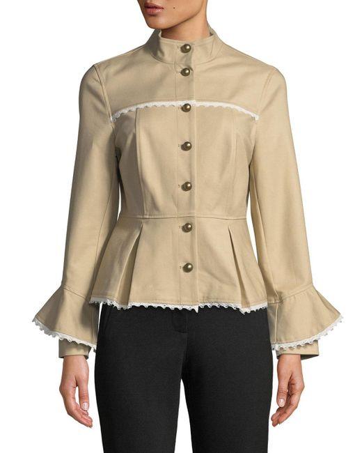 Nanette Nanette Lepore - Natural Lace-trimmed Peplum Military Jacket - Lyst