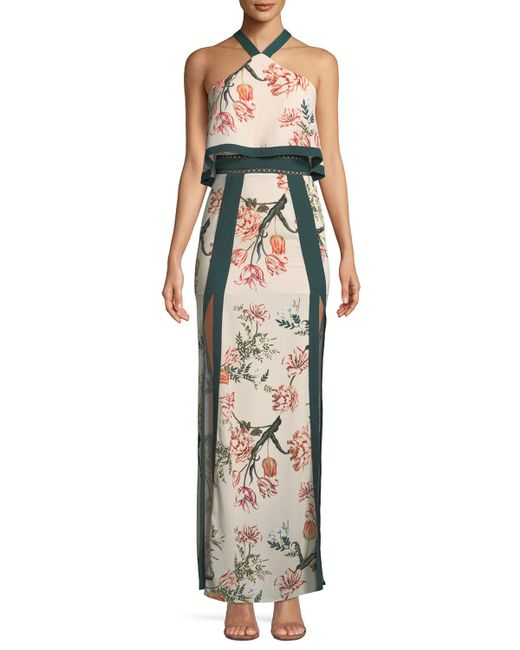 StyleStalker - Multicolor Aries Floral Print Maxi Dress With Splits - Lyst