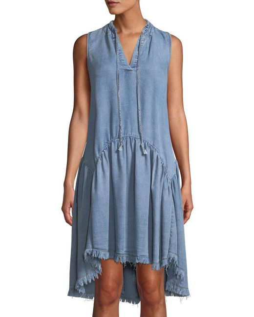 Catherine Malandrino - Blue Tie-neck High-low Chambray Dress - Lyst