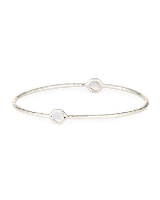 Ippolita - Metallic Sterling Silver Two-stone Bangle Bracelet In Clear Quartz - Lyst