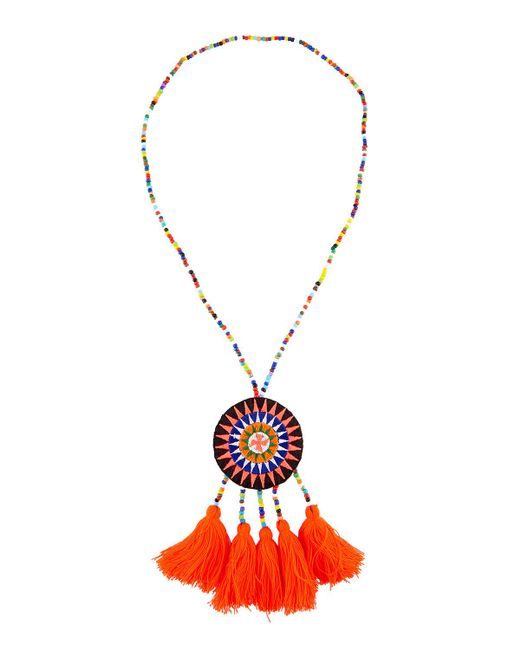 Panacea | Metallic Long Seed Bead Necklace W/ Embroidered Circle Pendant | Lyst