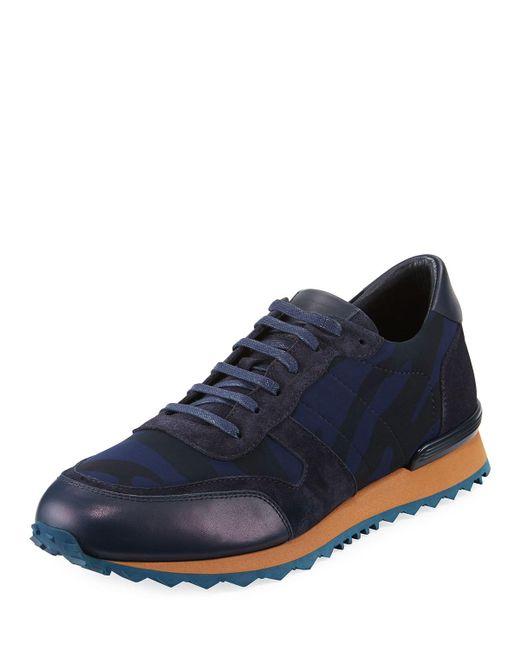 Jared Lang | Blue Tiger-stripe Neoprene Trainer Sneaker for Men | Lyst