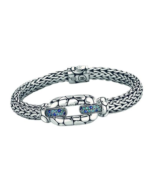 John Hardy - Metallic Kali Sterling Silver Bangle Bracelet With Blue Topaz And Iolite - Lyst