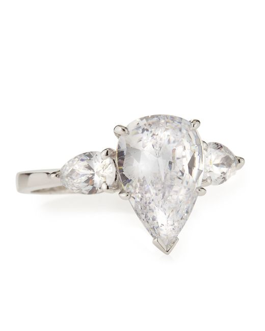 Fantasia by Deserio   Metallic Cz Pear-cut Ring With Side Stones   Lyst