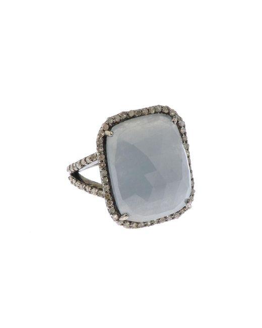 Bavna - Metallic Silver Square Ring With Multicolor Sapphire & Diamonds Size 6 - Lyst