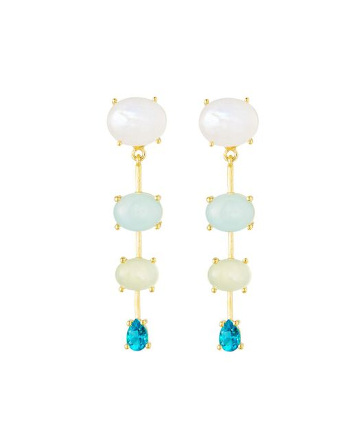 Indulgems - Blue Graduating Drop Earrings - Lyst