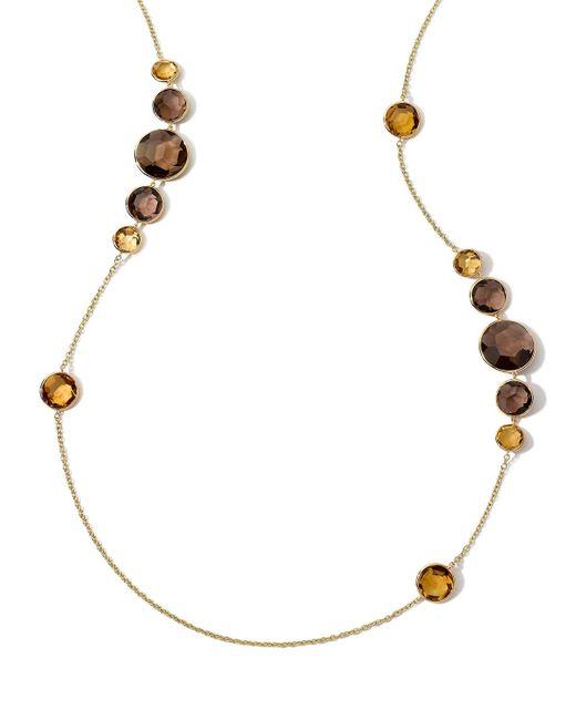 Ippolita   Metallic 18k Gemma Citrine & Quartz Station Necklace   Lyst