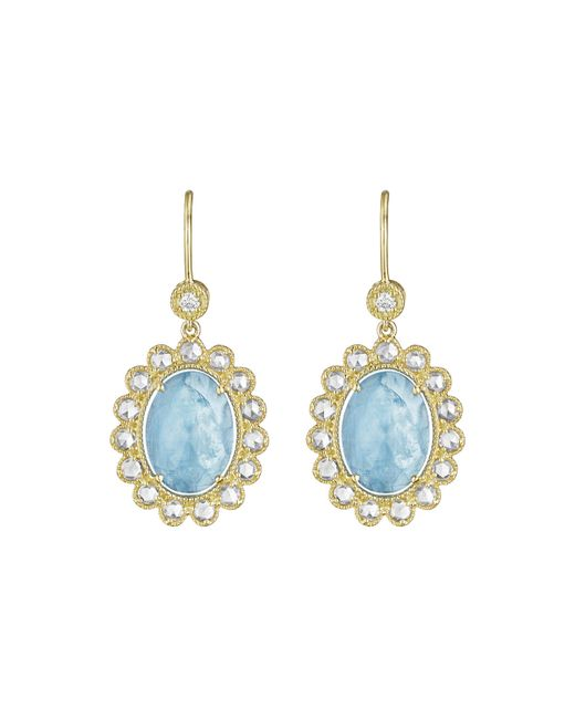 Penny Preville | Blue 18k Oval Aquamarine & Diamond Drop Earrings | Lyst
