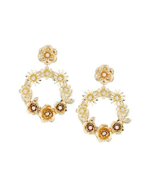 Fragments - Metallic Floral Hoop Drop Earrings - Lyst
