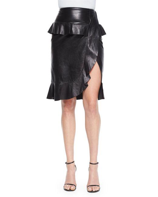 altuzarra leather ruffle peplum slit skirt in black save