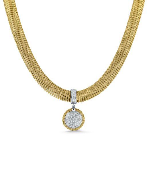 Alor | Metallic Spring Coil Cable & Round Diamond Pendant Necklace | Lyst