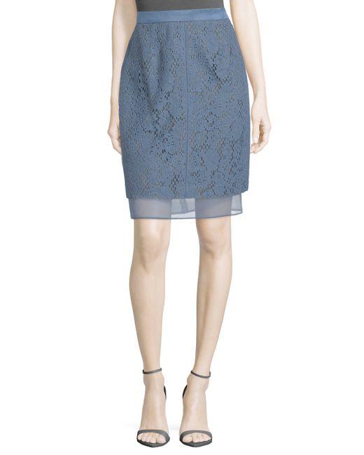 j mendel lace overlay pencil skirt in blue marine