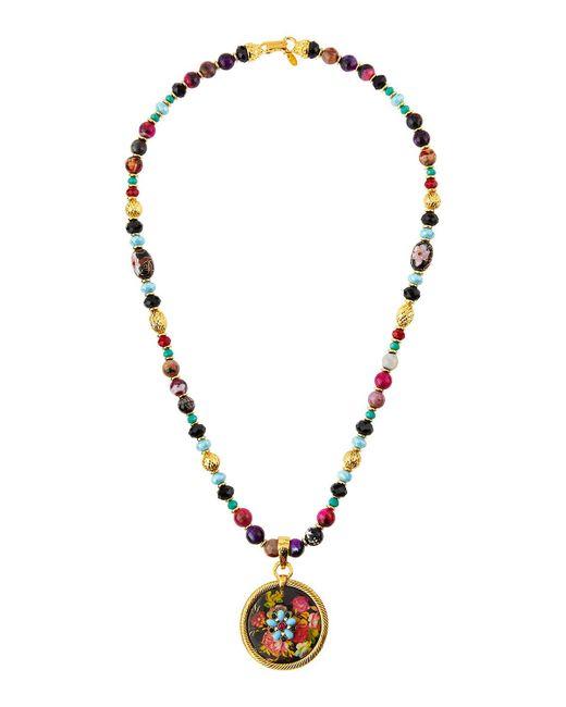 Jose & Maria Barrera   Metallic Long Beaded Fire Agate Necklace W/ Floral Pendant   Lyst