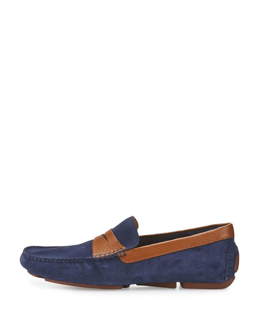 Donald J Pliner | Blue Vinco Leather-trim Suede Driver for Men | Lyst