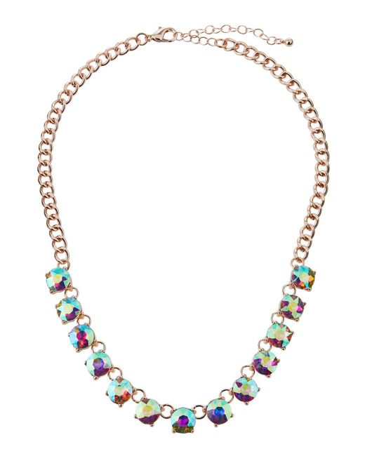 Romeo and Juliet Couture - Metallic Iridescent Crystal Necklace - Lyst