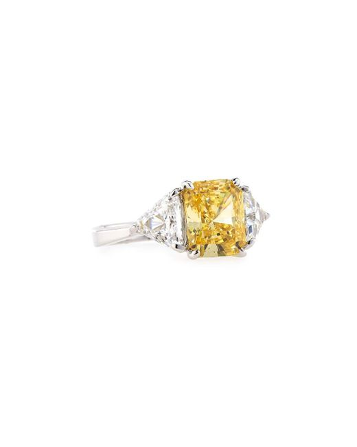 Fantasia by Deserio | Metallic Emerald-cut Canary Cubic Zirconia Ring | Lyst