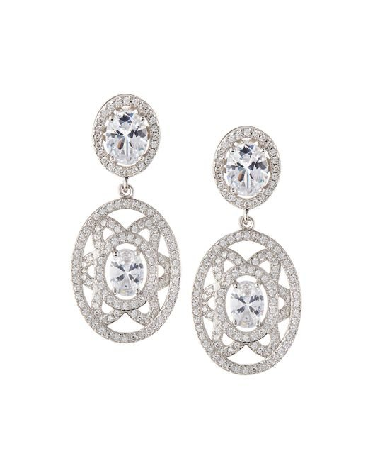 Fantasia by Deserio   Multicolor Elaborate Floral-motif Oval Cz Crystal Double-drop Earrings   Lyst