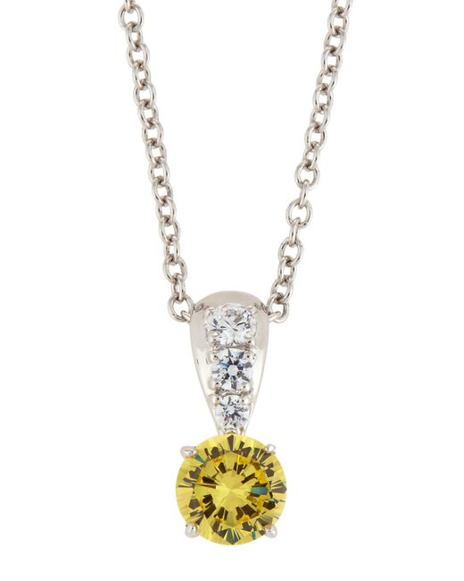 Fantasia by Deserio | Metallic Canary & White Cz Crystal Pendant Necklace | Lyst