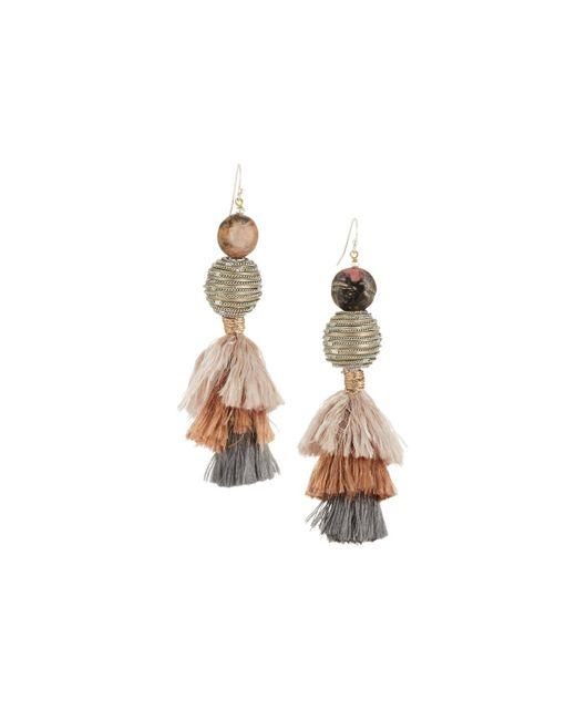 Nakamol   Pink Beaded & Tasseled Drop Earrings   Lyst