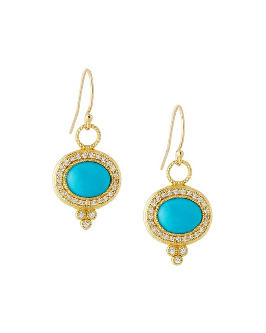 Jude Frances - Blue 18k Provence Pave Diamond & Turquoise Oval Dangle & Drop Earrings - Lyst