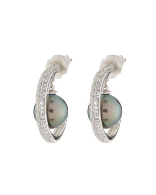 Belpearl - Metallic 14k Diamond & Tahitian Pearl Hoop Earrings - Lyst