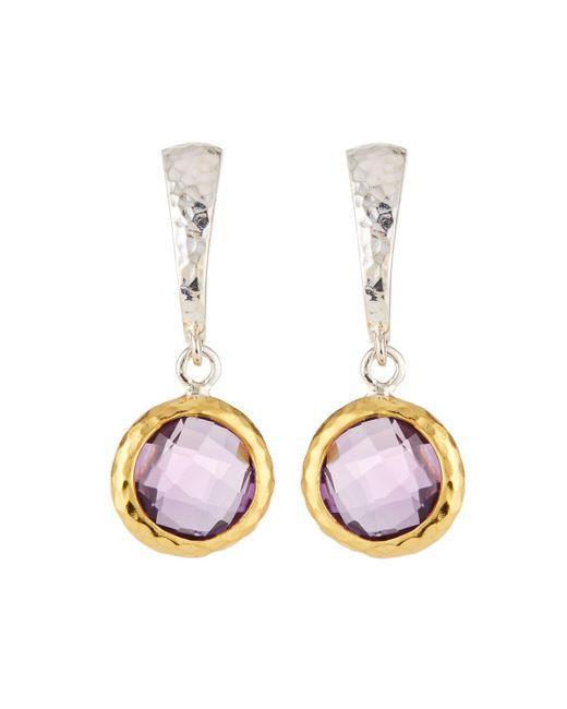Gurhan - Purple Small Wide Hoop Earrings W/ Amethyst Drop - Lyst