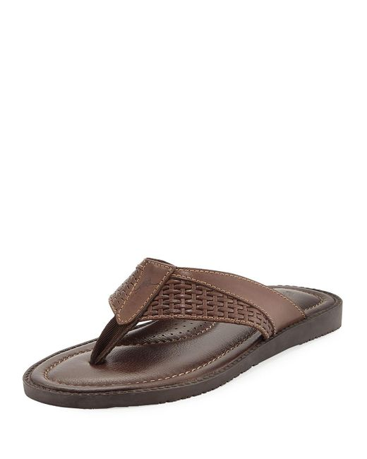 9c1692c9348392 ... Tommy Bahama Brown Anchors Astern Leather Flat Thong Sandal for Men  Lyst ... pretty  Slim Fresh Flip-Flop ...