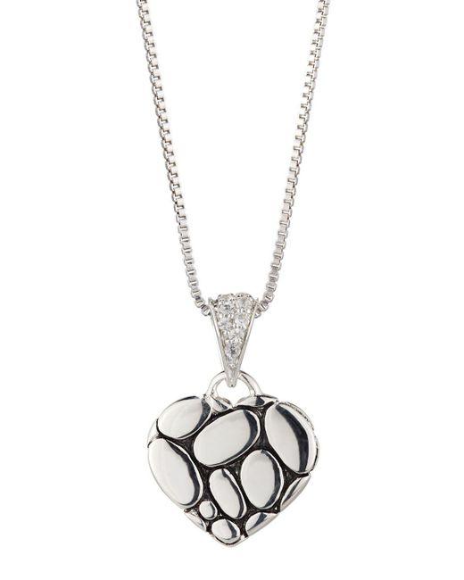 John Hardy | Kali Lava Heart Pendant Necklace W/ White Sapphires | Lyst