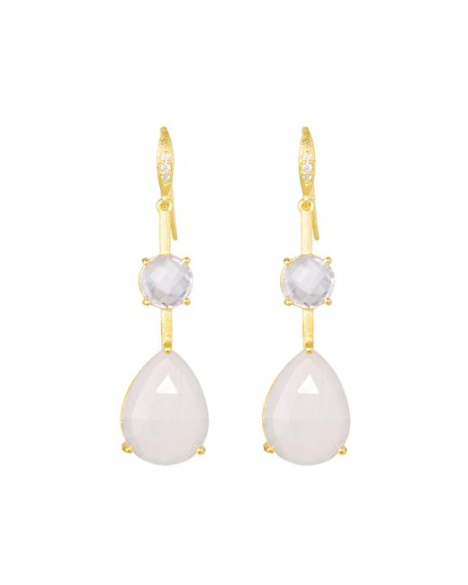 Indulgems - Pink Double Stone Drop Earrings - Lyst