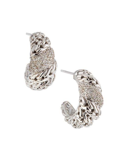 John Hardy - Metallic Swirl Hoop Earrings - Lyst