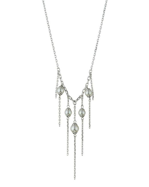 Majorica - White Pearl Chain Fringe Necklace - Lyst
