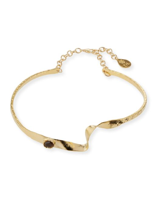 Devon Leigh | Metallic Golden Wave Choker Necklace W/ Smoky Quartz | Lyst