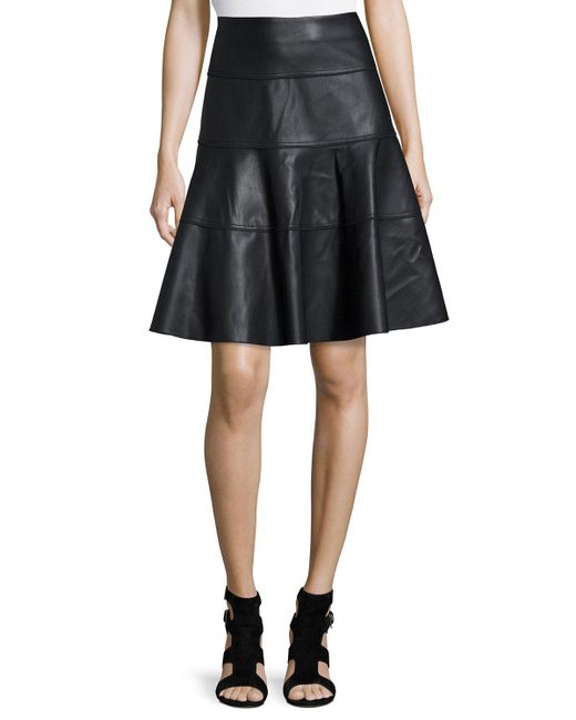 bagatelle faux leather a line knee skirt in black lyst