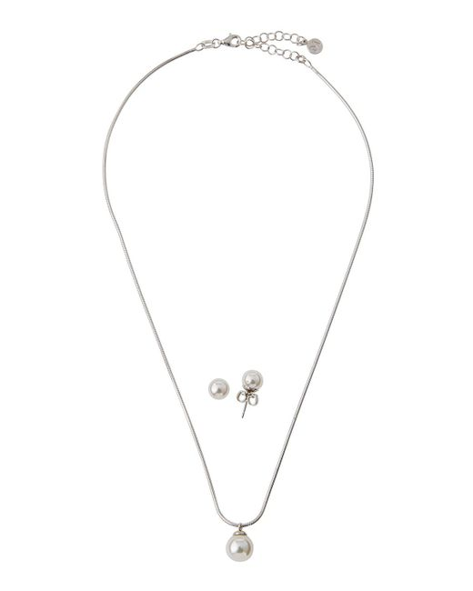 Majorica | White Pearl Pendant Necklace & Stud Earrings Set | Lyst