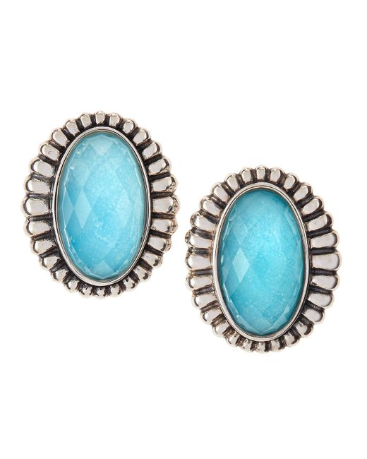 Lagos | Blue Venus Fluted Crystal & Turquoise Doublet Button Earrings | Lyst